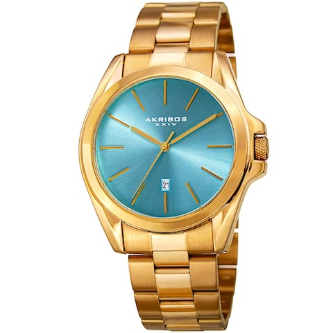 Akribos XXIV Men's Quartz Easy-to-Read Stainless Steel Gold-Tone Bracelet Watch