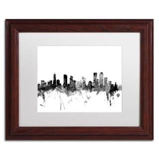Michael Tompsett 'Denver Colorado Skyline B&W' Matted Framed Art