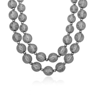 Country Chic 14-karat Rhodium Plated Brass Mesh over Lucite Balls Two-Strand 26-inch Necklace