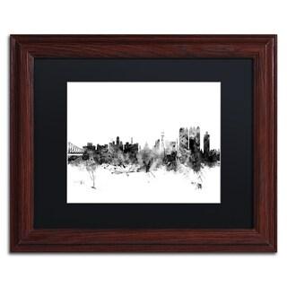 Michael Tompsett 'Calcutta India Skyline B&W' Matted Framed Art