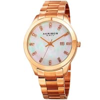 Akribos XXIV Women's Quartz Swarovski Crystal Rose-Tone Stainless Steel Bracelet Watch