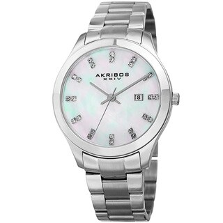 Akribos XXIV Women's Quartz Swarovski Elements Crystal Silver-Tone Stainless Steel Bracelet Watch