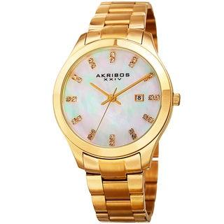 Akribos XXIV Women's Quartz Swarovski Crystal Gold-Tone Stainless Steel Bracelet Watch