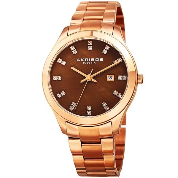 Akribos XXIV Women's Quartz Swarovski Crystal Rose-Tone Stainless Steel Bracelet Watch