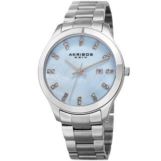 Akribos XXIV Women's Quartz Swarovski Crystal Silver-Tone Stainless Steel Bracelet Watch
