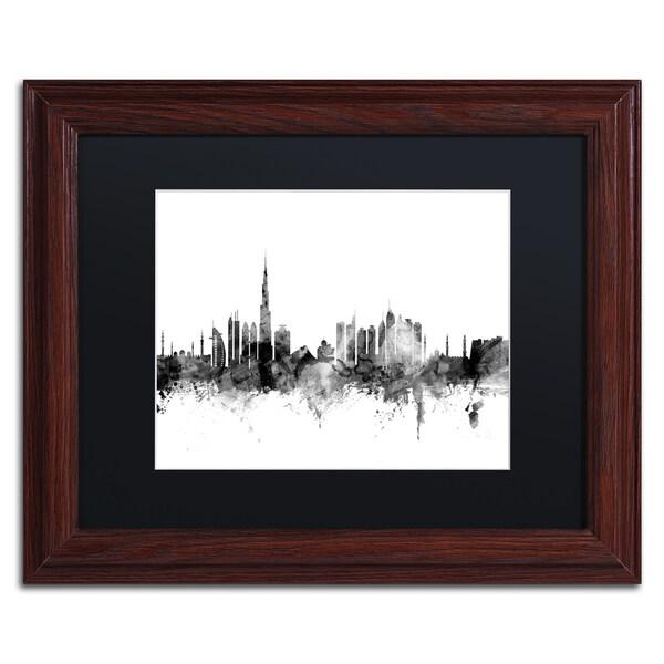Michael Tompsett 'Dubai Skyline B&W' Matted Framed Art