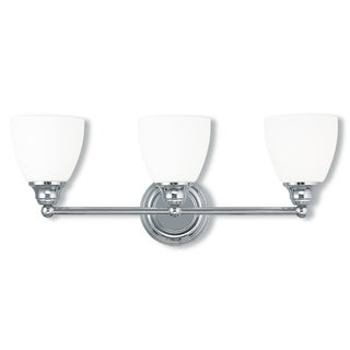 Livex Lighting Somerville Silver Steel and Frosted Glass 3-light Bathroom Fixture