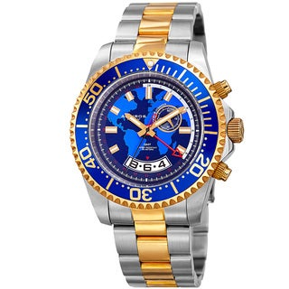 Akribos XXIV Men's Quartz Multifunction Two-Tone Stainless Steel Bracelet Watch with Gift Box