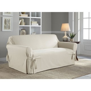 Tailor Fit Relaxed Fit Cotton Duck Loveseat Slipcover in Natural (As Is Item)