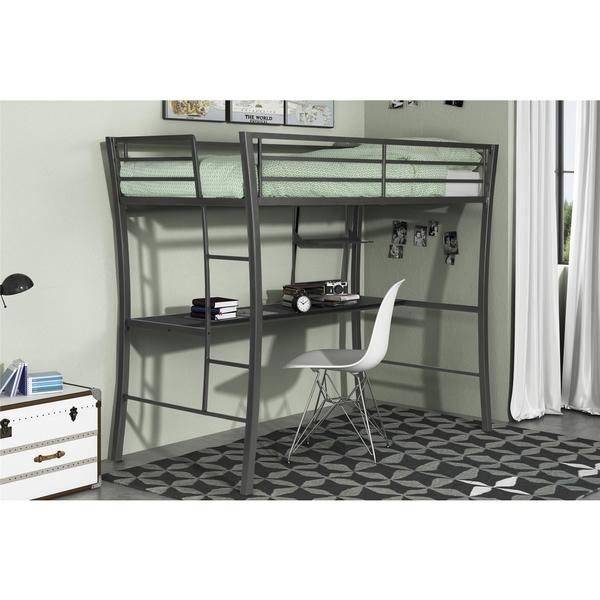 shop dhp metropolis gunmetal grey metal twin loft with desk free shipping today overstock. Black Bedroom Furniture Sets. Home Design Ideas