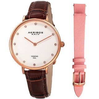 Akribos XXIV Women's Quartz Diamond Interchangeable Leather Brown Strap Watch