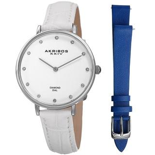 Akribos XXIV Women's Quartz Diamond Interchangeable Leather White Strap Watch