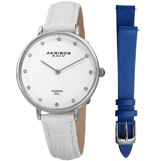 Akribos XXIV Women's Quartz Diamond Interchangeable Leather White Strap Watch