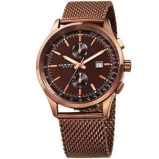 Akribos XXIV Men's Swiss Quartz Multifunction Tachymeter Brown Stainless Steel Bracelet Watch
