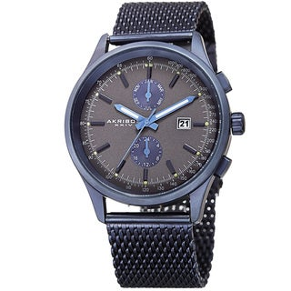 Akribos XXIV Men's Swiss Quartz Multifunction Tachymeter Blue Stainless Steel Bracelet Watch with Gift Box