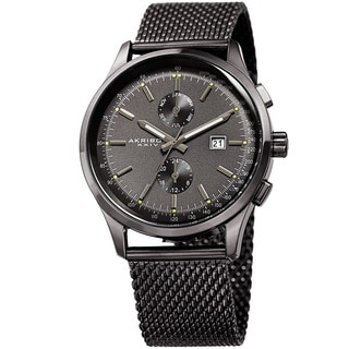 Akribos XXIV Men's Swiss Quartz Multifunction Tachymeter Gray Stainless Steel Bracelet Watch