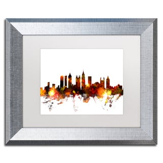 Michael Tompsett 'Atlanta Georgia Skyline Red' Matted Framed Art