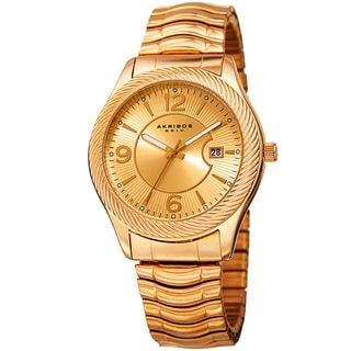 Akribos XXIV Women's Quartz Date Stainless Steel Gold-Tone Bracelet Watch