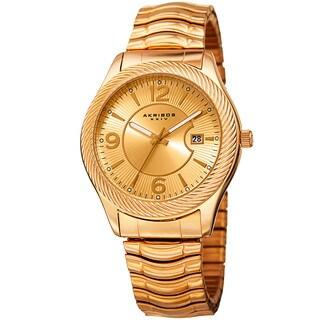 Akribos XXIV Women's Quartz Date Stainless Steel Gold-Tone Bracelet Watch