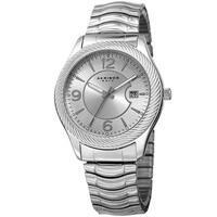 Akribos XXIV Women's Quartz Date Stainless Steel Silver-Tone Bracelet Watch