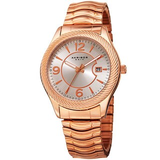 Akribos XXIV Women's Quartz Date Stainless Steel Rose-Tone Bracelet Watch