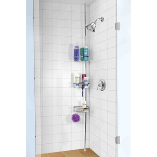 Home Basics 3 Tier Tension Rod Chrome Shower Storage