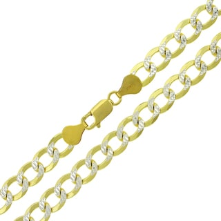 ITProLux Goldplated .925 Sterling Silver 7.5-millimeter Solid Cuban Curb Link Diamond Cut Necklace Chain
