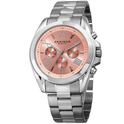 Akribos XXIV Women's Quartz Multifunction Stainless Steel Silver-Tone Bracelet Watch
