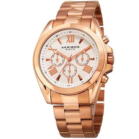 Akribos XXIV Women's Quartz Multifunction Stainless Steel Rose-Tone Bracelet Watch
