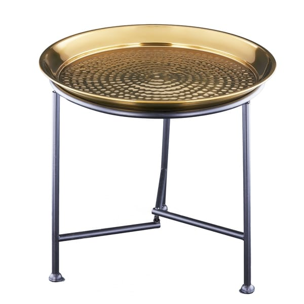 Old Dutch Gold Metal Hammered Tray and Stand