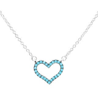 Sterling Essentials Silver Synthetic Nano-Turquoise Heart Adjustable Necklace (16 plus 2 inch extension)