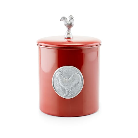 Old Dutch Red Rooster Silver Stainless Steel 4-quart Fresh Seal Cover Cookie Jar with Medallion and Knob