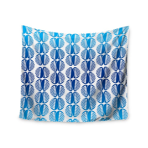 Kess InHouse Dan Sekanwagi 'Poddy Combs In Blue' Blue Pattern51x60-inch Wall Tapestry