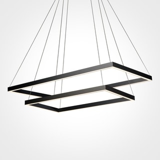 VONN Lighting Black Finish Acrylic and Aluminum 29-inch LED Adjustable Suspension Two-tier Chandelier