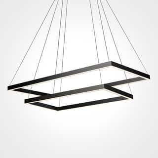 VONN Lighting Black Finish Acrylic and Aluminum 29-inch LED Adjustable Suspension Two-tier Chandelier|https://ak1.ostkcdn.com/images/products/12104589/P18966673.jpg?impolicy=medium