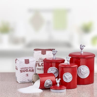 Red Rooster 4-piece Canister Set with Medallion, Knob, and Fresh Seal Covers