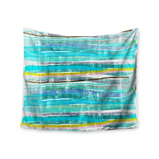 Kess InHouse Frederic Levy-Hadida 'Fancy Stripes Acqua' 51x60-inch Wall Tapestry