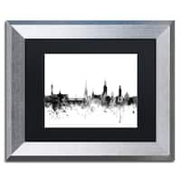 Michael Tompsett 'Stockholm Sweden Skyline B&W' Matted Framed Art