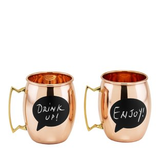 Old Dutch 'Chalkboard' Solid Copper 16-ounce Moscow Mule Mugs (Set of 2)