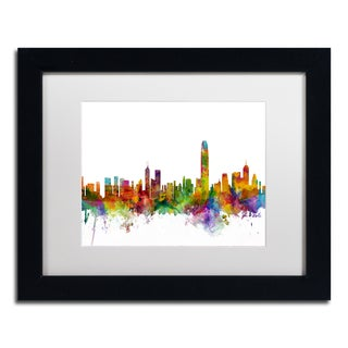 Michael Tompsett 'Hong Kong Skyline White' Matted Framed Art
