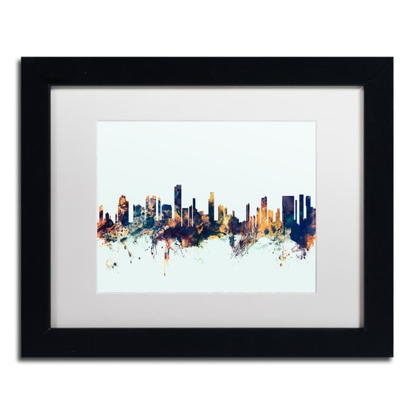 Michael Tompsett 'Honolulu Hawaii Skyline Blue' Matted Framed Art