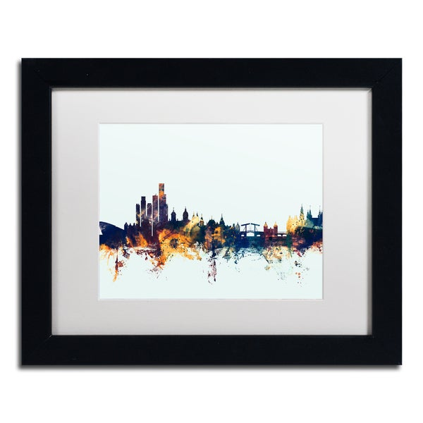 Michael Tompsett 'Amsterdam Skyline Blue' Matted Framed Art
