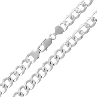 .925 Sterling Silver 8mm Solid Cuban Curb Link Diamond-cut ITProLux Necklace Chain