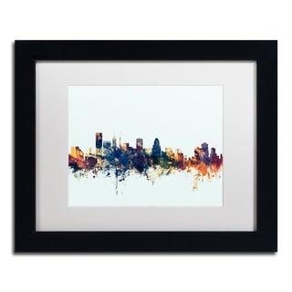 Michael Tompsett 'Baltimore MD Skyline Blue' Matted Framed Art