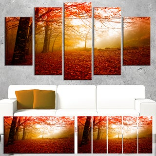 Yellow Sun Rays in Red Forest - Landscape Photo Canvas Print