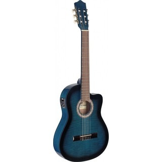 Stagg C546TCE-BLS Thin Body Cutaway Blue Acoustic Electric Classical Guitar