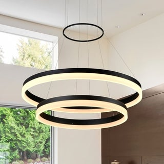 VONN Lighting VMC31730BL Tania Duo 24-inch LED Modern Two-Tier Circular Chandelier in Black