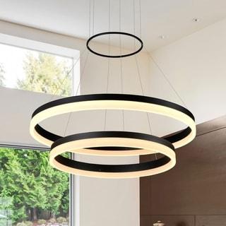 VONN Lighting VMC31730BL Tania Duo 24-inch LED Modern Two-Tier Circular Chandelier in Black