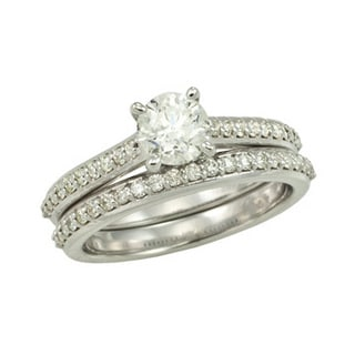 14k White Gold 1 1/10 TDW Round Diamond Wedding Set