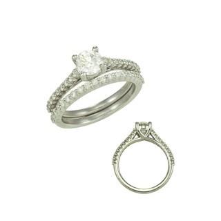 14k White Gold 1 1/10 TDW Diamond Wedding Set